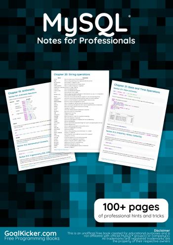 Free e-book : MySQL®Notes for Professionals
